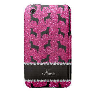 Personalized name neon hot pink glitter dogs iPhone3 case