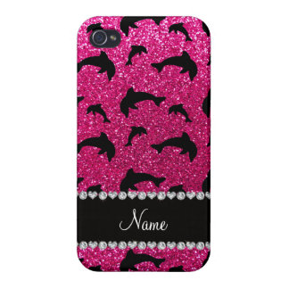 Personalized name neon hot pink glitter dolphins covers for iPhone 4