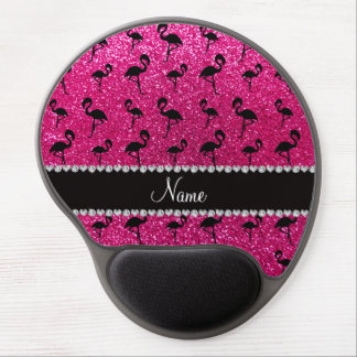 Personalized name neon hot pink glitter flamingos gel mouse mat