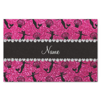 Personalized name neon hot pink glitter mermaids tissue paper