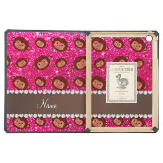 Personalized name neon hot pink glitter monkeys iPad air case