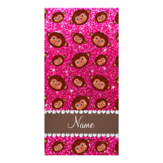 Personalized name neon hot pink glitter monkeys photo card template