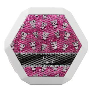 Personalized name neon hot pink glitter pandas
