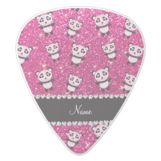 Personalized name neon hot pink glitter pandas white delrin guitar pick