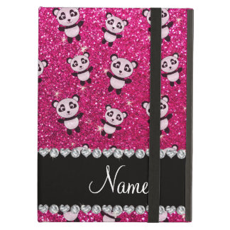 Personalized name neon hot pink glitter pandas iPad air cases