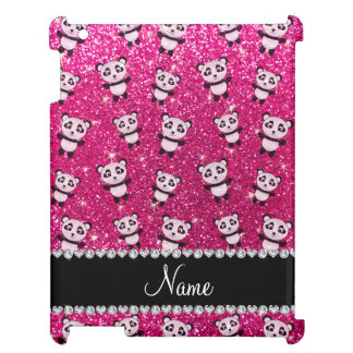 Personalized name neon hot pink glitter pandas cover for the iPad