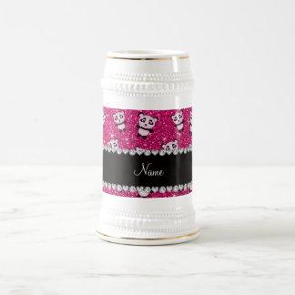 Personalized name neon hot pink glitter pandas mugs