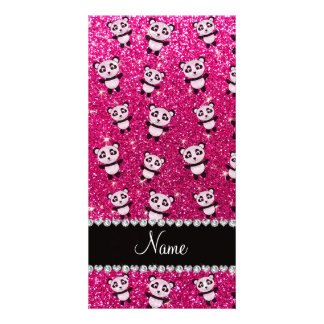 Personalized name neon hot pink glitter pandas customized photo card