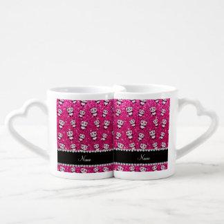 Personalized name neon hot pink glitter pandas couples mug