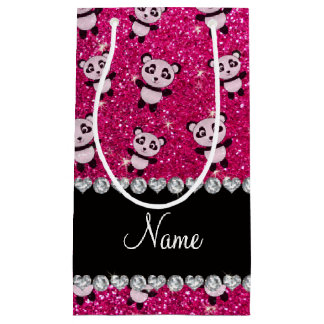 Personalized name neon hot pink glitter pandas small gift bag