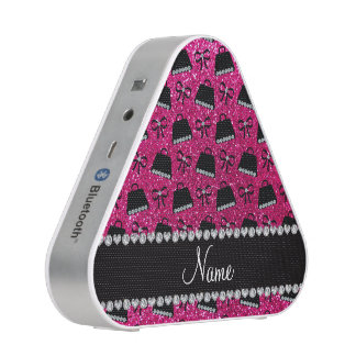 Personalized name neon hot pink glitter purses bow