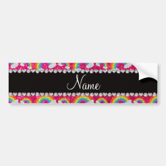 Personalized name neon hot pink glitter rainbows bumper sticker