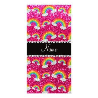 Personalized name neon hot pink glitter rainbows customized photo card