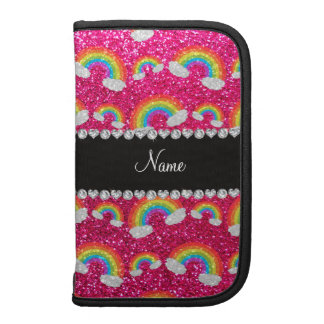 Personalized name neon hot pink glitter rainbows planner