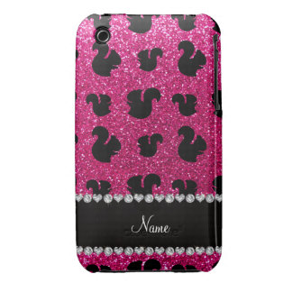 Personalized name neon hot pink glitter squirrel Case-Mate iPhone 3 cases