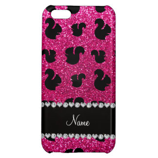 Personalized name neon hot pink glitter squirrel cover for iPhone 5C