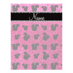 Personalized name neon hot pink glitter squirrel flyer design