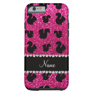 Personalized name neon hot pink glitter squirrel tough iPhone 6 case