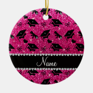 Personalized name neon hot pink graduation hearts Double-Sided ceramic round christmas ornament