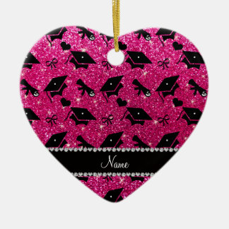 Personalized name neon hot pink graduation hearts Double-Sided heart ceramic christmas ornament