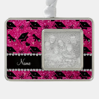 Personalized name neon hot pink graduation hearts silver plated framed ornament