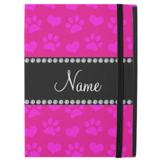 """Personalized name neon hot pink hearts and paws iPad pro 12.9"""" case"""