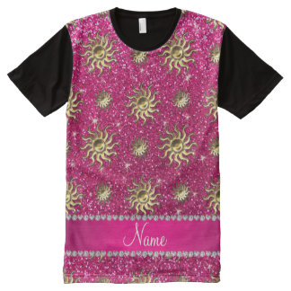 Personalized name neon hot pink suns All-Over print T-Shirt