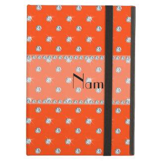 Personalized name neon orange diamonds iPad folio case