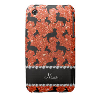 Personalized name neon orange glitter cats iPhone 3 Case-Mate cases