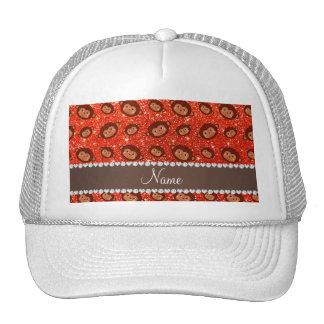 Personalized name neon orange glitter monkeys cap