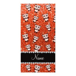 Personalized name neon orange glitter pandas custom photo card