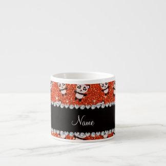 Personalized name neon orange glitter pandas espresso cup