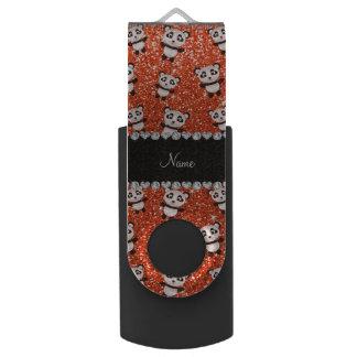 Personalized name neon orange glitter pandas swivel USB 2.0 flash drive