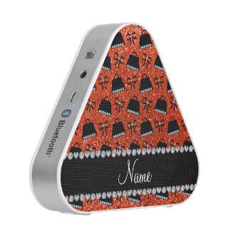 Personalized name neon orange glitter purses bow