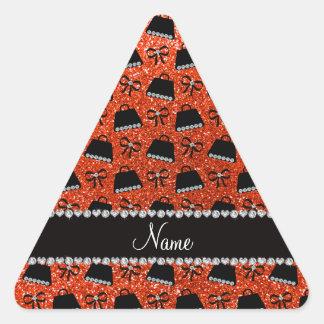 Personalized name neon orange glitter purses bow stickers