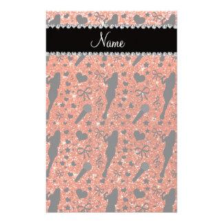 Personalized name neon orange glitter singer customized stationery