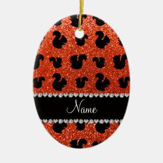 Personalized name neon orange glitter squirrel christmas ornament