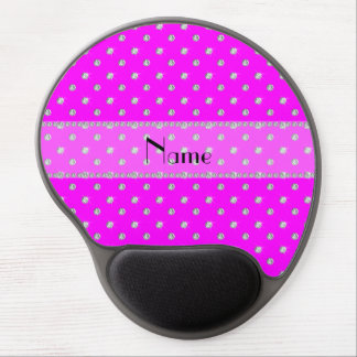 Personalized name neon pink diamonds clear stripe gel mouse pad