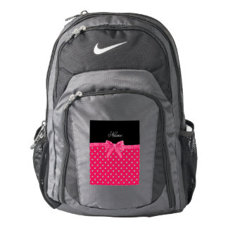 Personalized name neon pink diamonds pink bow backpack