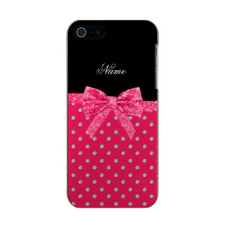 Personalized name neon pink diamonds pink bow incipio feather® shine iPhone 5 case