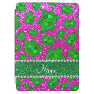 Personalized name neon pink glitter sea turtles iPad air cover