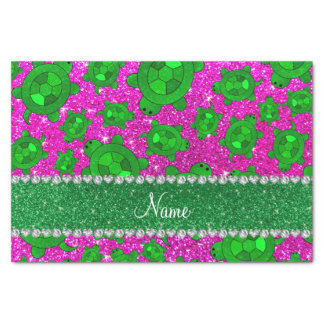 Personalized name neon pink glitter sea turtles tissue paper