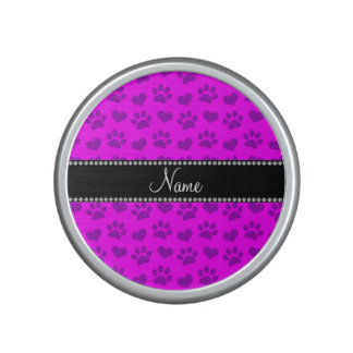 Personalized name neon pink hearts and paw prints speaker