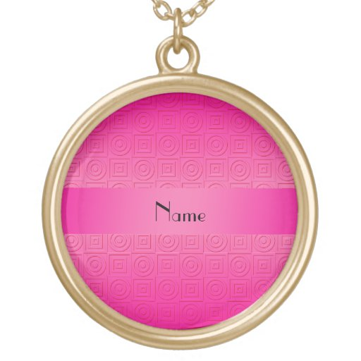 Personalized name neon pink square circles pendants