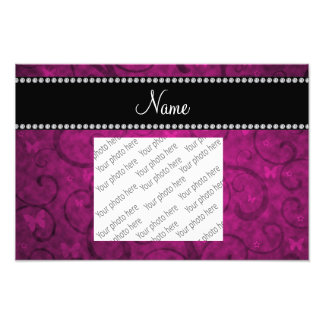 Personalized name neon pink swirls butterfly photo print