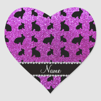 Personalized name neon purple glitter bunny heart sticker