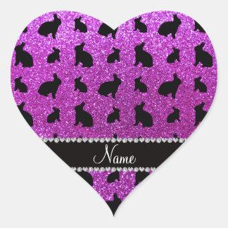Personalized name neon purple glitter bunny heart sticker