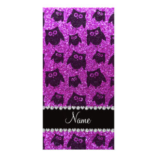 Personalized name neon purple glitter owls customized photo card