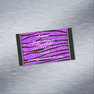 Personalized name neon purple glitter zebra stripe magnetic business cards (Pack of 25)