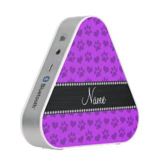 Personalized name neon purple hearts and paw print